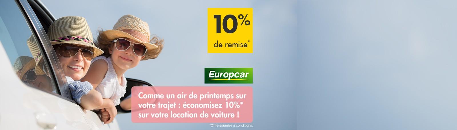 Offre Europcar 2018 : 10% de réduction