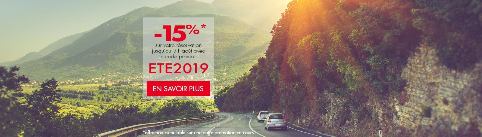 -15% sur votre réservation jusqu'au 31 août avec le code promo : ETE2019